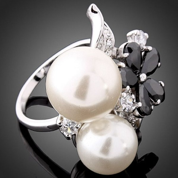 New arrival women fashion jewelry royal diamond alloy luxurious zircon pearl ring Love Valentine's day Christmas festival gift