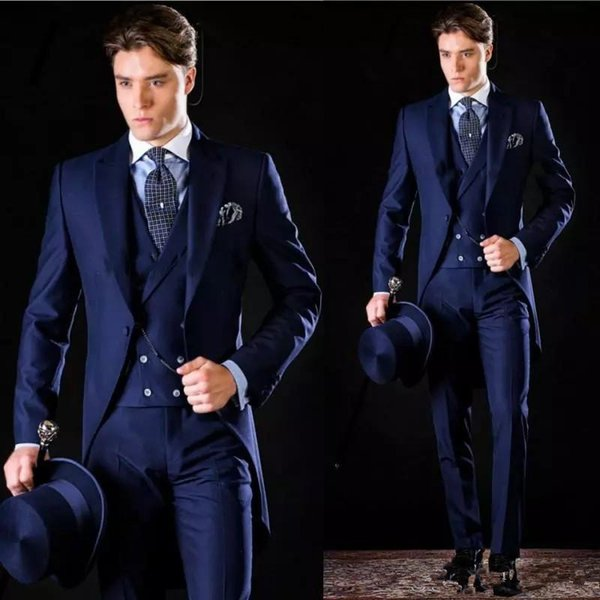 Dark Navy Men Groomsmen Suits For Wedding Groom Suit Handsome Tailcoat  Wedding Suit Formal Gentleman Wear Slim Jacket Pants Vest Mens Suit Jackets