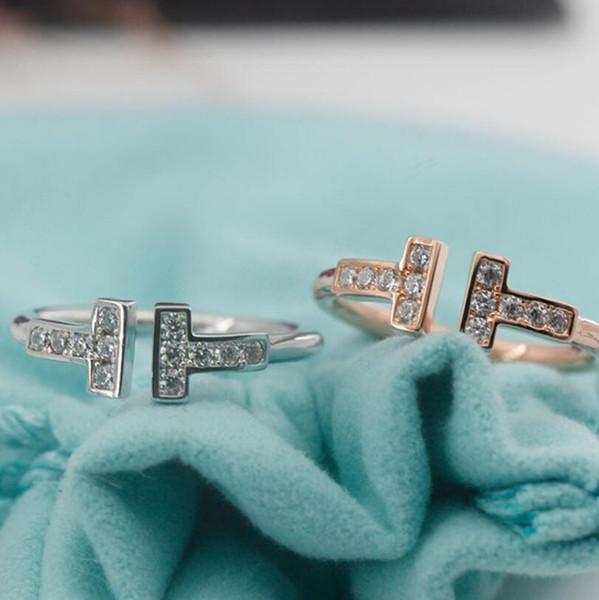 Joyas de lujo S925 anillos de plata de ley para mujeres anillos de diamantes abiertos Letra del diseñador Estilo T Boda anillo de oro rosa