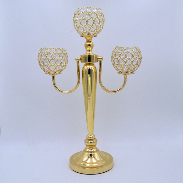 """10pcs/lot 21.65"""" tall gold silver 3 arms crystal candelabra centerpiece wedding party table decor candle holder centerpiece"""