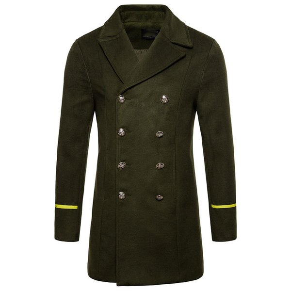Army Military Men's Double Breasted Wool Winter Coats for Men Medium Long Jackets Man's Regular fit Peacoat 2018 Male Trench C18111601