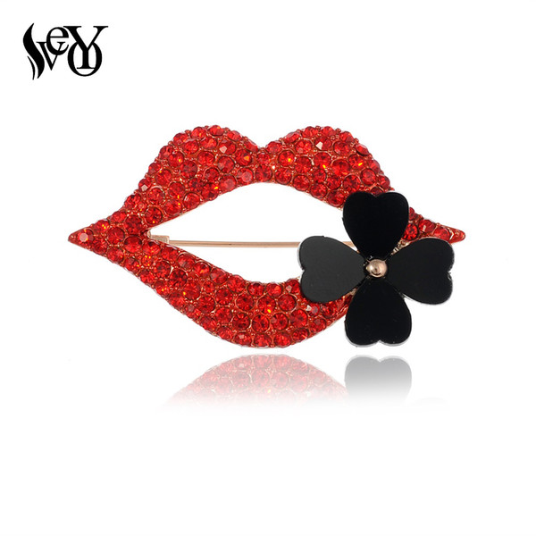 VEYO Sexy Red Lips Rhinestone Brooch Jewelry for Women Fashion Lapel Pins Four Clover Flower Brooches Wholesale