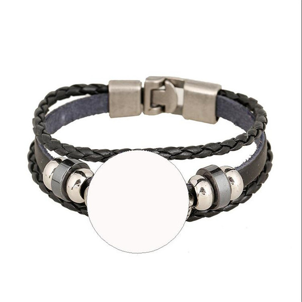 top popular cowhide bracelets for sublimation fashion black knitted bracelet for thermal transfer printing custom diy jewelry wholesale 2018 2019