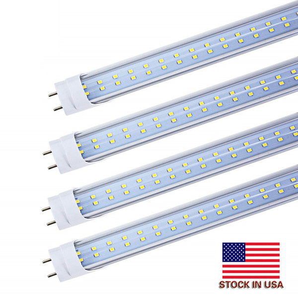 top popular Stock in US + 4ft led tube 22W 25W 28W Warm Cool White 1200mm 4ft SMD2835 192pcs Super Bright Led Fluorescent Bulbs AC85-265V UL 2021