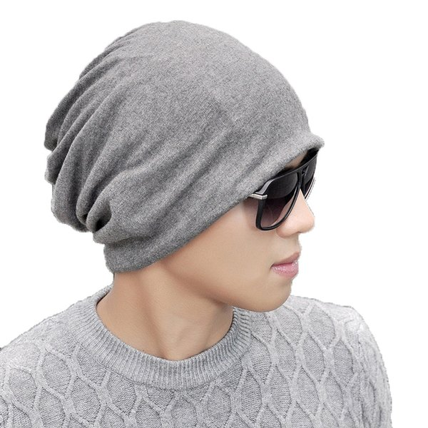 Solid Color Men Women Fleece Skullies Beanies Hedging Cap Knit Knitted Cotton Double Layer Fabric Caps Bonnet Hat Winter Warm