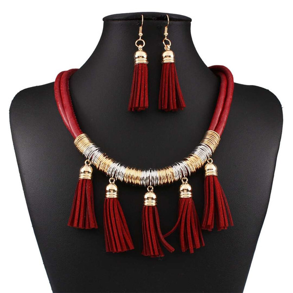 leather tassel jewelry sets Multi layer earrings necklace women Hot sale new fashion jewelry three colors red blue black free shipping