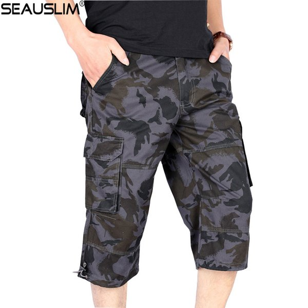 SEAUSLIM Camouflage Cargo Shorts Men Camo Rip-stop Tactical Militar Shorts Casual Loose Trousers Cotton Short Pants LQ-MW-03