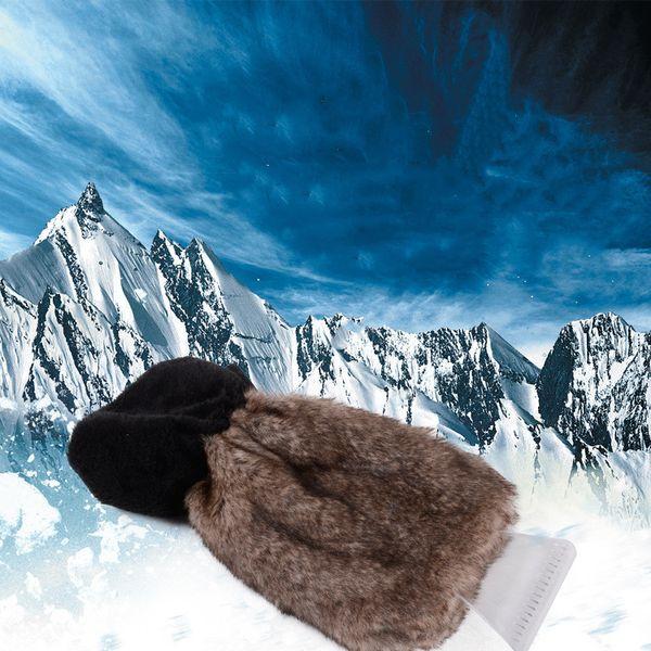 Ice Scraper Snow Shovel Mitts Deluxe Guante de piel sintética con forro grueso Fleece Snow Scraper Glove Removedor de nieve para automóvil en camping Actividad al aire libre
