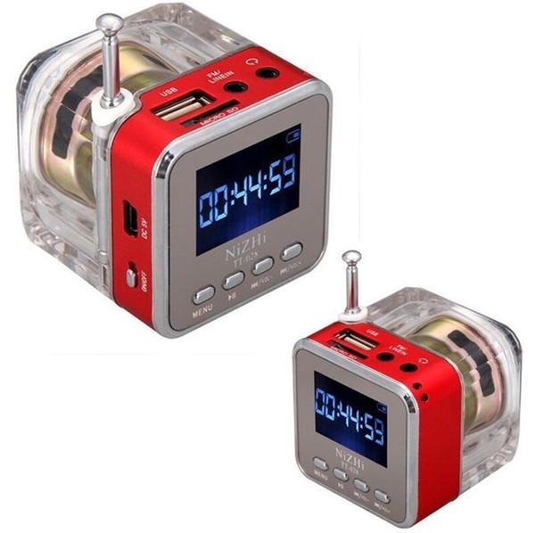 Nizhi TT-028 Portable LED Crystal LCD Display Mini Music Speakers Subwoofer Loudspeakers FM SD TF Card LX2273