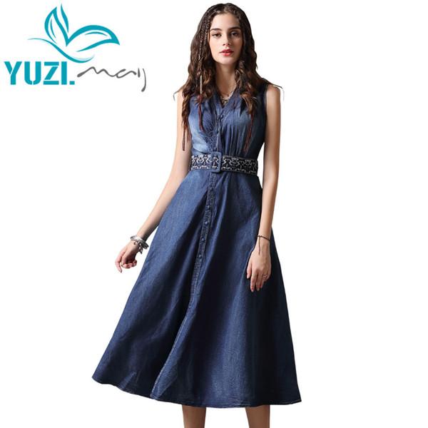 f4245c3589018 Summer Dress 2018 Yuzi.May Boho New Denim Vestidos V Neck A Line Sleeveless  Belted Single Breasted Women Sundresses A82093 Cocktail Dress Brands ...
