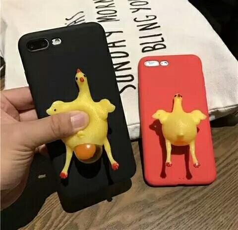 2018 Funny 3D Cartoon Animal Phone Cases For iphone 7 6s Plus Case Soft Vent toy Squishy Squeeze Lay egg hen chicken Cover