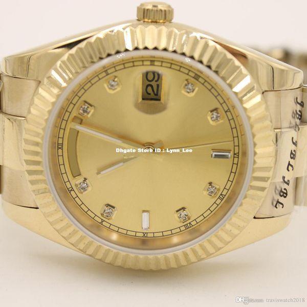 2018 brand watch 40mm Day-Date Champagne Dial 18K Yellow Gold President daydate Automatic watches men sapphire glass men dress wristwatch003