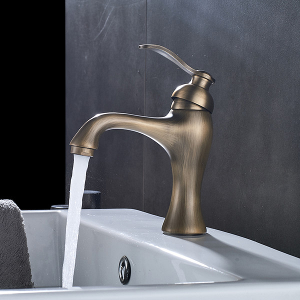 Bathroom Classic Antique Brass Single Hole Wall Mounted Basin Sink Faucet One Handle Hot Cold Water Mixer Taps