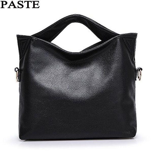 PASTE Russia Genuine Leather Women Tote Bag High Quality Female Handbag Lady Red Blue Black Beige Shoulder Bag For Shopping Work