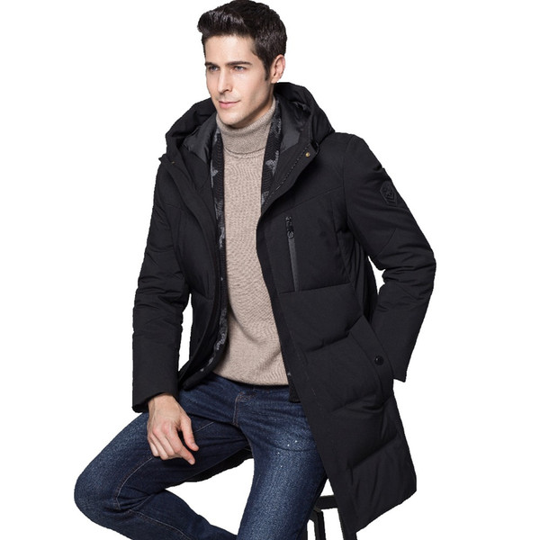 JZ CHIEF Hooded Down Jacket With Scarf Men Winter Thick Warm White Duck Down Coat Male Outerwear Cheat Pocket Long Jackets