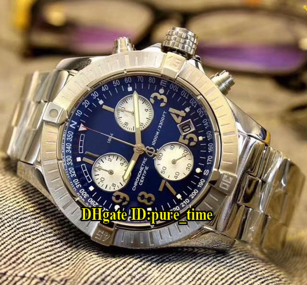 Avenger Seawolf Chrono Dark Blue Dial Miyota Quartz Chronograph Mens Watch Silver Stainless Steel Cheap New Gents Watches