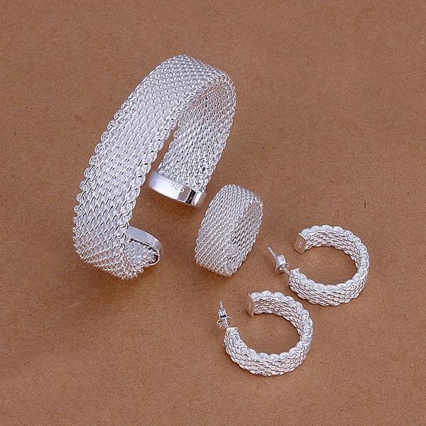 Wholesale Female 925 pure silver plated fashion jewelry Net Mesh Belt fine classic Ring Earrings Bangle bridal Jewelry Set