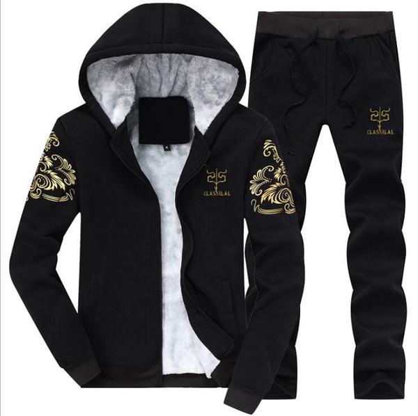 Trainingsanzug Männer Set 2018 Marke Kleidung Hoodies Sportwear Sweatshirt Winter Warm Fitness Trainingsanzug Lässige Trainingsanzüge Mens Sets