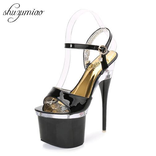 Ultra high heels 18cm fine sandals women waterproof platform steel pipe shoes model show shoes nightclub shoes Wedding Shoes