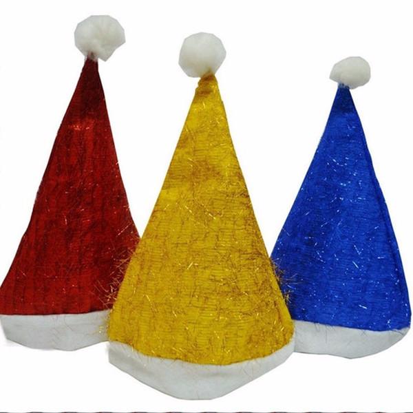 Golden Hair Christmas Hats Christmas Ornaments Adult Ordinary 3Colors Santa Hats Children Cap For Party 12Pcs /Lot