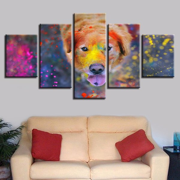 Canvas Paintings Home Decor HD Prints 5 Pieces Beautiful World Of Colors Dog Pictures Modular Endearing Animal Poster Framework