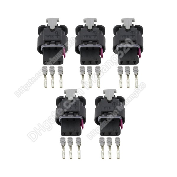 5 Sets 3 Pin Female Waterproof Automotive Wire Connector Sealed Plastic Car Housing Plug With Terminals And Seals DJ7033A-1.2-21
