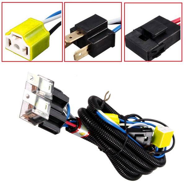 H4 Relay Harness Wire Alogen 2 Headlight Ceramic Plug Kit prese per faro auto car