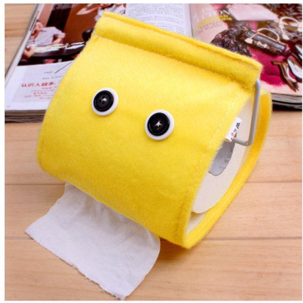 Cartoon Toilet Roll Paper Holder Flannel Tissue Box Bathroom Hanging Towel Napkin Storage Box Case Organizer Container Cover4