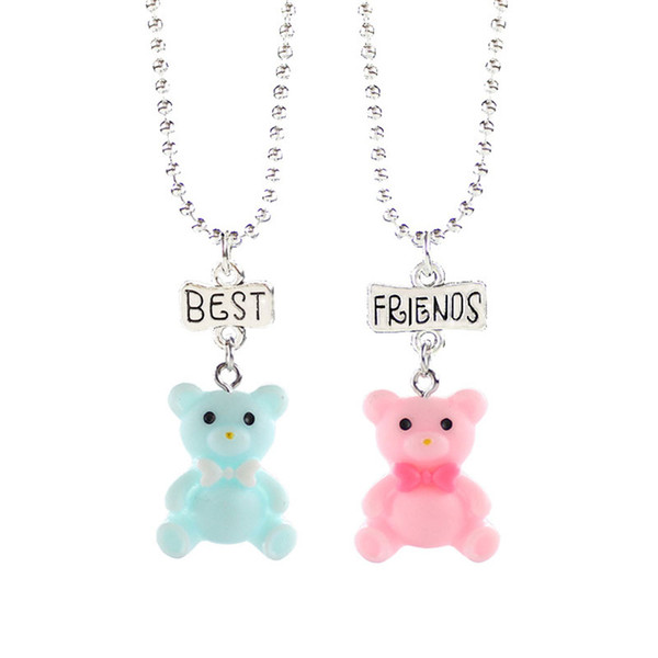 2 pcs/set Cute candy colored Bow tie blue pink bear Pendant Necklaces For Children Best Friend Necklace Kids love jewelry gifts