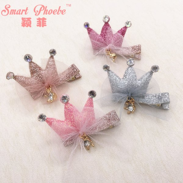 Boutique 20pcs Fashion Cute Glitter Crown with Lace Bowknot Girls Hair Clips Solid Princess Tiara with Gemstone Baby Girls Barrettes