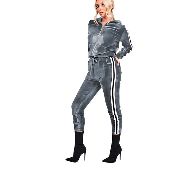 Winter 2 Piece Set Hooded Velvet Jumpsuit Casual Long Sleeve Striped Bandage Overalls Women Zipper Long Tracksuit With Pockets