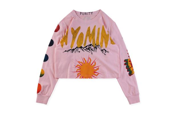 Kanye West Wyoming Mujeres pintadas a mano Graffiti Sexy Open Umbilical Camiseta suelta de manga larga Hip Hop Moda mujeres Tops rosas Dancing clothes