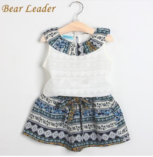 Bear Leader Girls Fashion Clothing Sets 2018 Brand Girls Clothes Kids Clothing Sets Sleeveless White T-Shirt + Short 2Pcs Suits