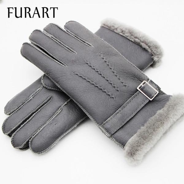 FURART Warm Winter 2017 Mittens Gloves Mittens womenswear Brand Manual Genuine Leather Gloves Winter Sheep Skin Leather