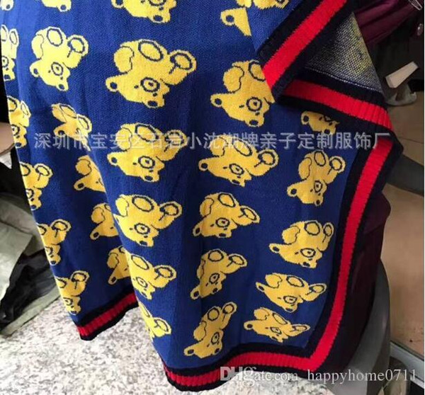 New Arrival High Quality Comfort Cotton Knit Bear Pattern Children's Blanket Outdoor Travel Portable Shawl Holiday Gift
