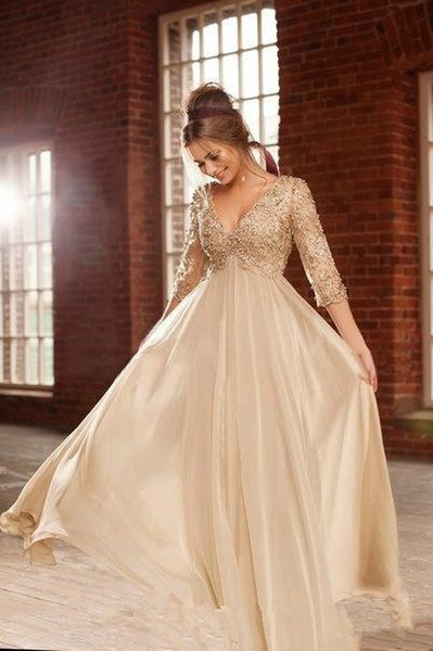 Prom Dresses Sexy hot-selling champagne Chiffon Dress deep V-neck lace long sleeve back zipper heavy handmade pearl skirt cheap package mail
