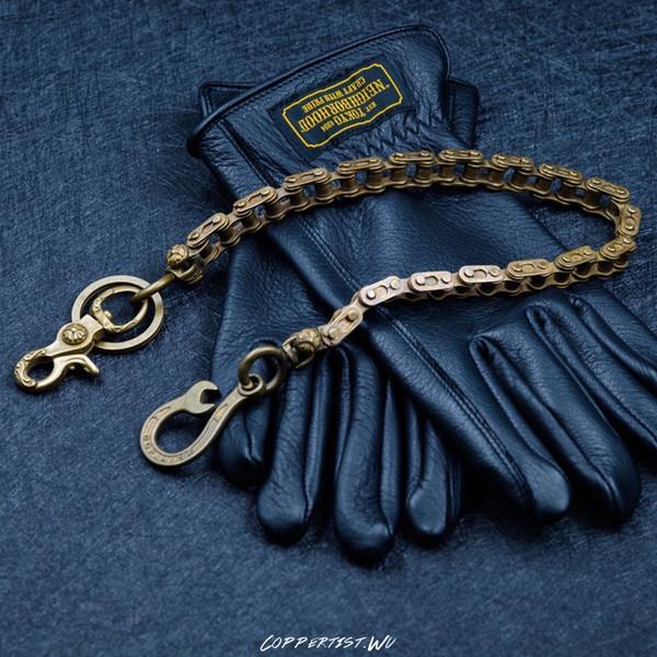 coppertist.wu Long Detachable engine Metal Wallet Belt Chain Rock Punk Trousers Jean Keychain Brass Ring Clip Keyring