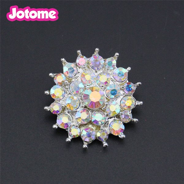 Hot Promotion Cheaper price 50pcs/lot round AB rhinestone button, wedding rhinestone button for dress