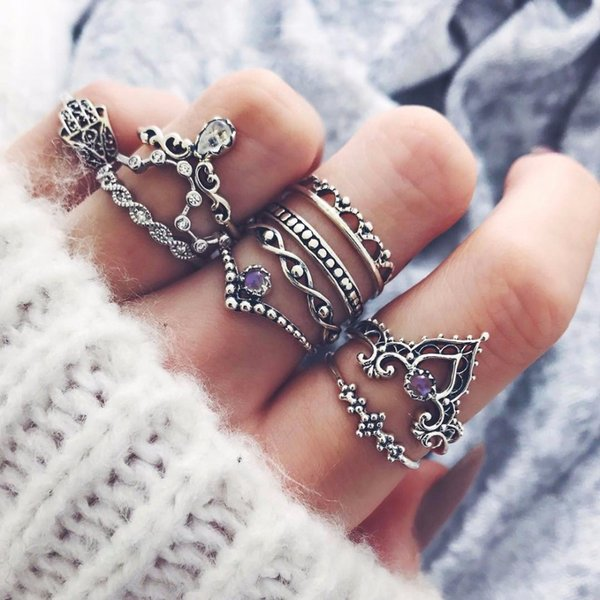 10Pcs/set Fashion Fatima palm Gem Midi Ring Sets Crown Water drops Vintage Crystal Opal Knuckle Rings for Women Party Jewellery