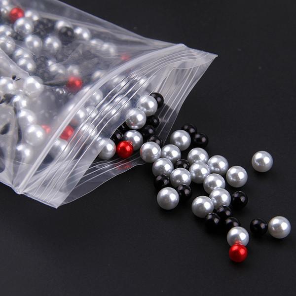 1 sac 3-6mm série noire mélange taille gommage imitation pas de perle perles rondes pour bricolage nail art décoration