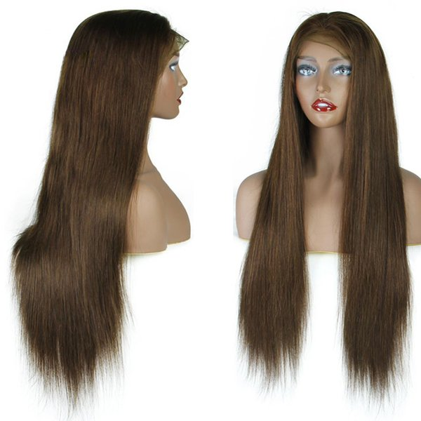 Brown Color lace Front Wigs With Baby Hair Remy Hair Brazilian straight Human Hair Wigs Pre Plucked Hairline