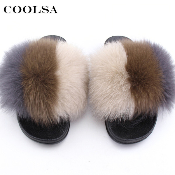 2b315c2d231d wholesale Summer Women Fur Slippers Real Fox Hair fluffy Mixed Colors Slides  Rubber Flat Non Slip