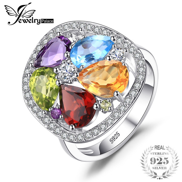 wholesale luxury 4.5ct Genuine Amethysts Garnets Peridots Blue Topazs Ring For Women Pure 925 Sterling Silver Jewelry