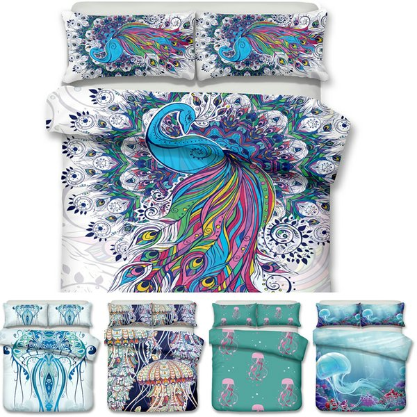 Art Peacock and Jellyfish Pattern Printed Bedding Sets All Sizes Pillow Case Quilt Cover Duvet Cover