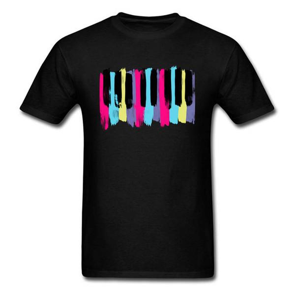 Verão Estilo T Shirt Curto Homens Aquarela Teclas de Piano O-pescoço Camiseta de Altura