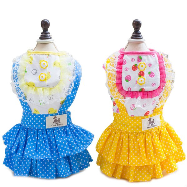 2018 Newest Dogs Cats Overalls Dress Lovely Lace Skirt Pets Puppies Girls Clothes Chihuahua Teddy Yorkshire Princess Clothing-35