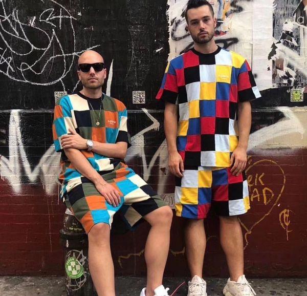 Box Logo Tee Shorts Colorful Mosaic Track Sports Set Luxury Stitching Unisex Casual Summer Tops Pants Fitness T shirt Shorts HFTTTZ005