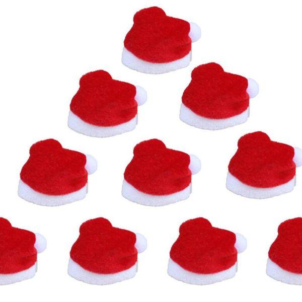 100 teile / los Weihnachten Handwerk Zubehör Geschenk Hause Dekorationen Mini kleine Weihnachten Santa Hut Cup Flaschen Abdeckung Dekoration 20% off