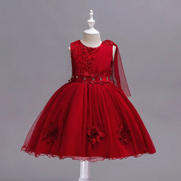 2018 kids clothes Children's wedding dress in the big boy bow mesh dress girls red dress