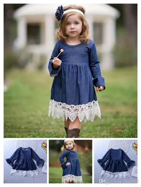 Principessa delle ragazze Denim Dress Abbigliamento per bambini Abito di pizzo Per bambini Maniche lunghe Abiti da festa Baby Girl Kid Abbigliamento per bambini 4197